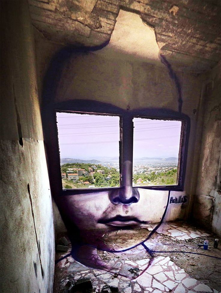 A Pair of Window Shades Overlook Greece by Achilles
