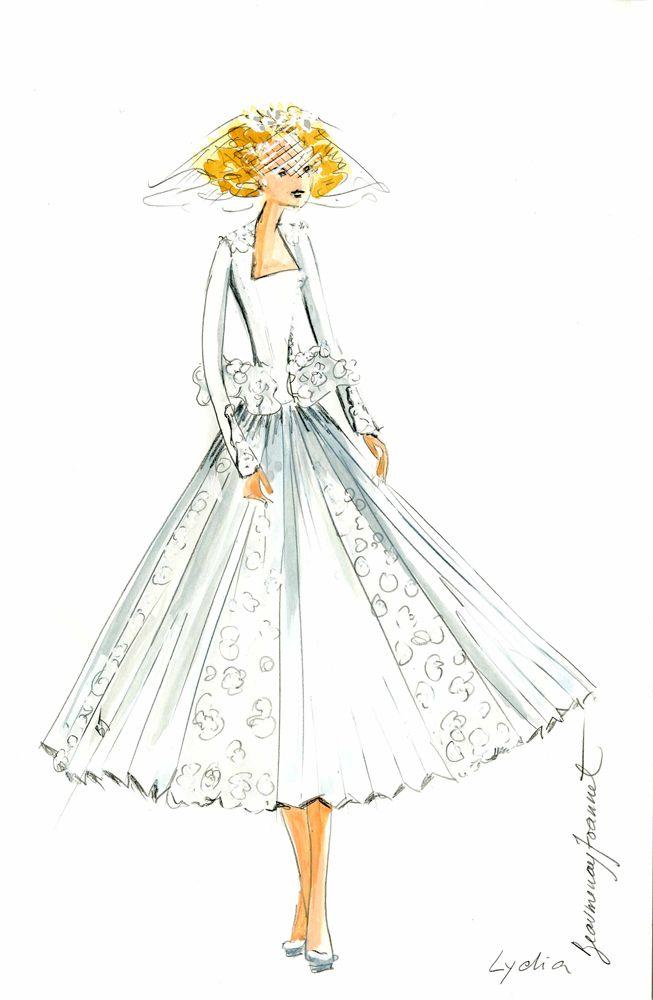 dessin robe de mariée courte dentelle et plissage et veste manche ...