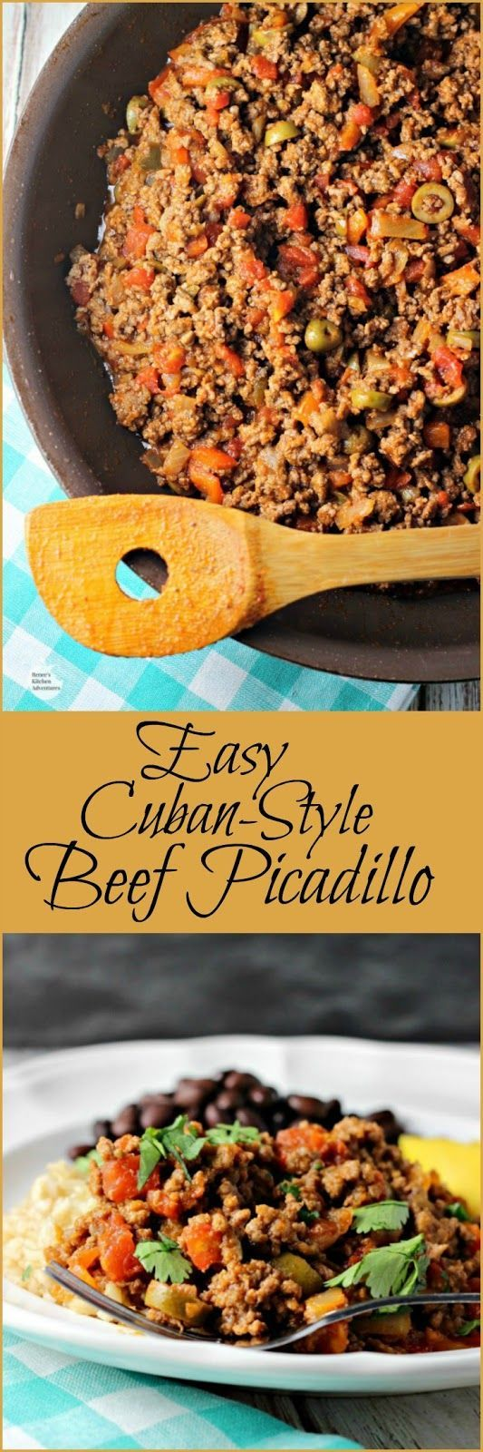 Easy Cuban-Style Beef Picadillo | by Renee's Kitchen Adventures - Easy healthy lean beef entree perfect for busy weeknights!  Full of so much flavor! @beeffordinner #SundaySupper