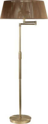 Recalling the moody but exotic lighting common to the swanky clubs of the Jazz Age, this retro floor lamp features a shear Mocha String shade. The Burnished Brass column is telescoping and delicately reeded.
