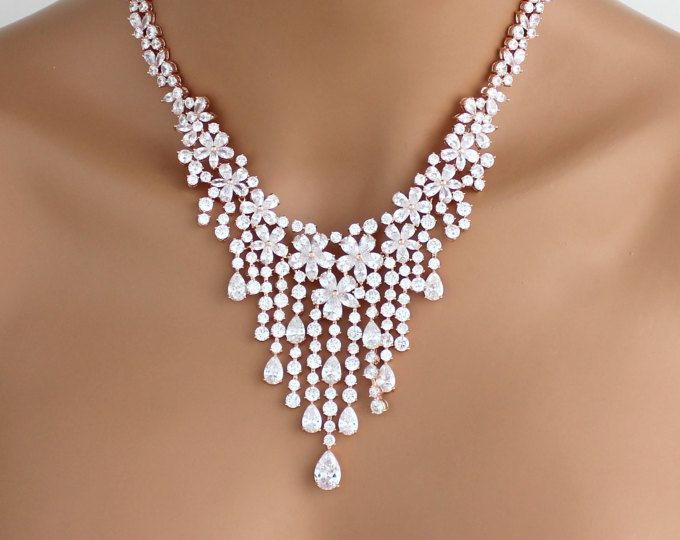 Collar de cristal, collar de declaración, joyería nupcial, collar de oro rosa, collar Swarovski, collar de la boda, collar de cristal CZ