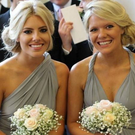 Mollie King does bridesmaid chic at sister's wedding in grey Two Birds dress