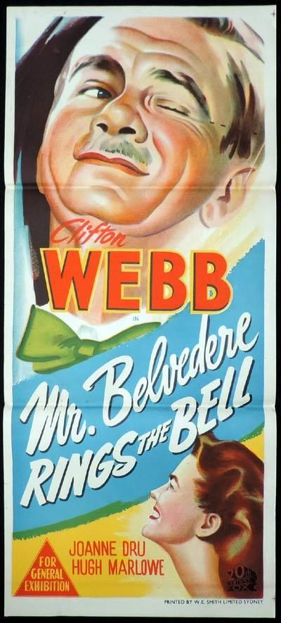 MR BELVEDERE RINGS THE BELL Original Daybill Movie Poster Clifton Webb