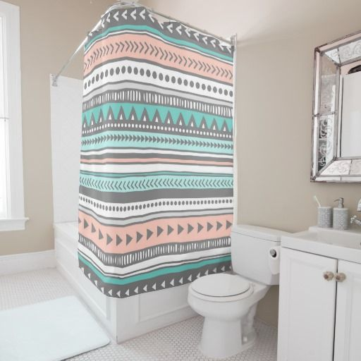 Grey Teal Coral Tribal Pattern Shower Curtain