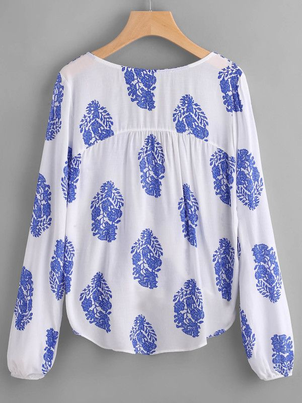 Printed Lace Up Front Wrap Top Shein Sheinside With Images Lace Front Top Fashion Scalloped Hem Tops
