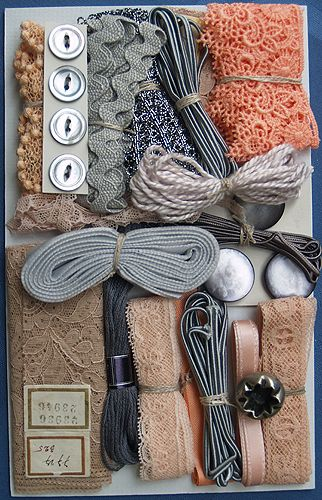 Crazy Quilt Embellishment Assortment - Peach & Gray