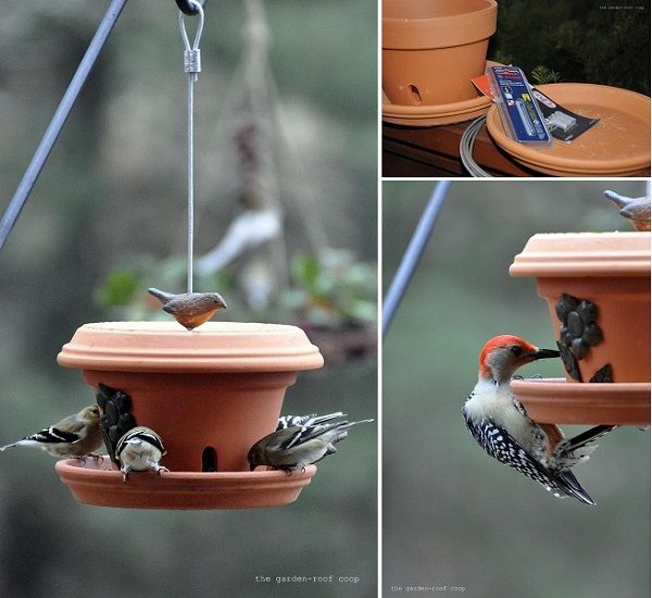 DIY Easy To Make Flowerpot Bird Feeder prakticideas.com