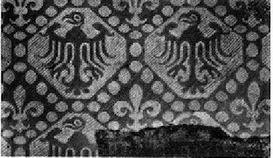 Italy, 13th century. Eagles in diamonds, Kgm. Berlin. In: Otto von Falke: Kunstgeschichte der Seidenweberei, Fig. 291.