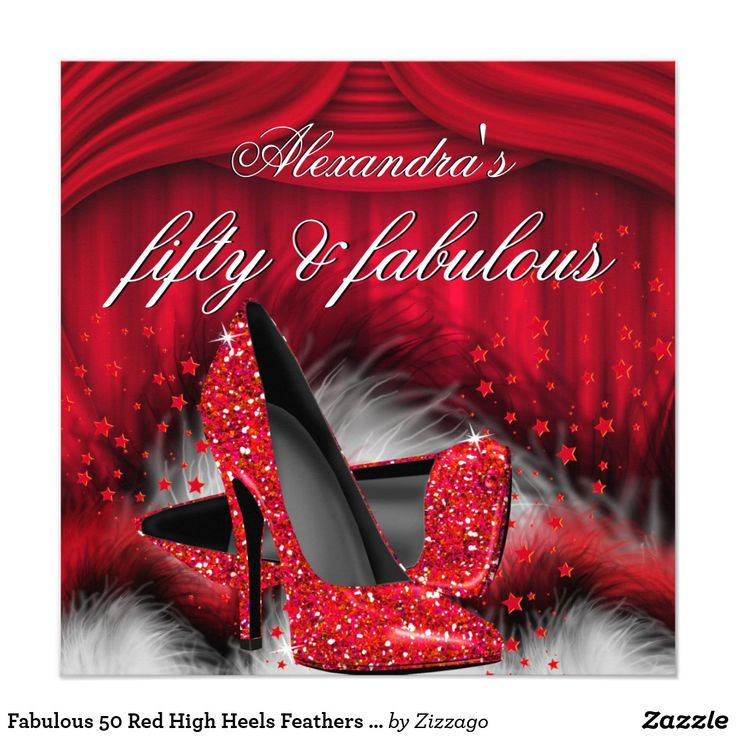 Fabulous 50 Red High Heels Feathers Birthday Invitation