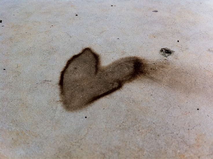 Concrete stained heart.
