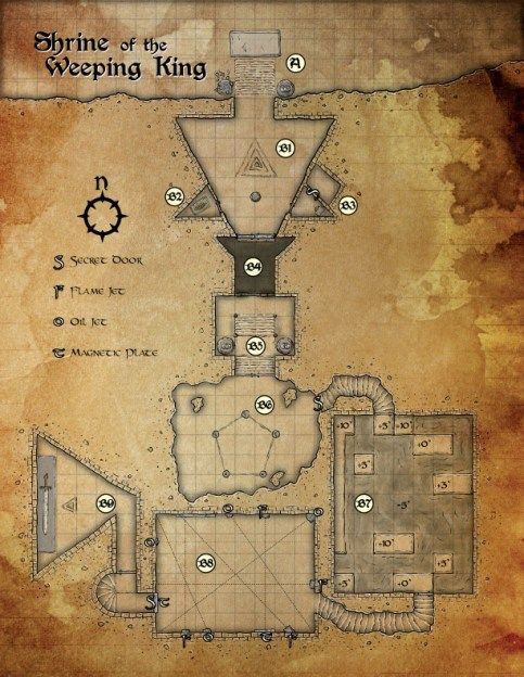 Shrine of the Weeping King dungeon Cartography by Tommi Salama