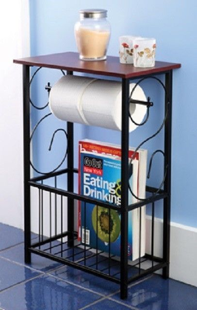 Gramercy Scroll Design Bathroom Table Toilet Paper Holder / Magazine Organizer