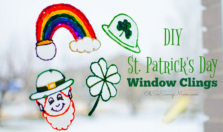 This adorable DIY St. Patrick's Day window clings craft is perfect for preschool age and up! They require only a few supplies and are so easy to make!