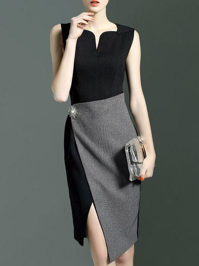 Black Contrast Grey Asymmetric Dress