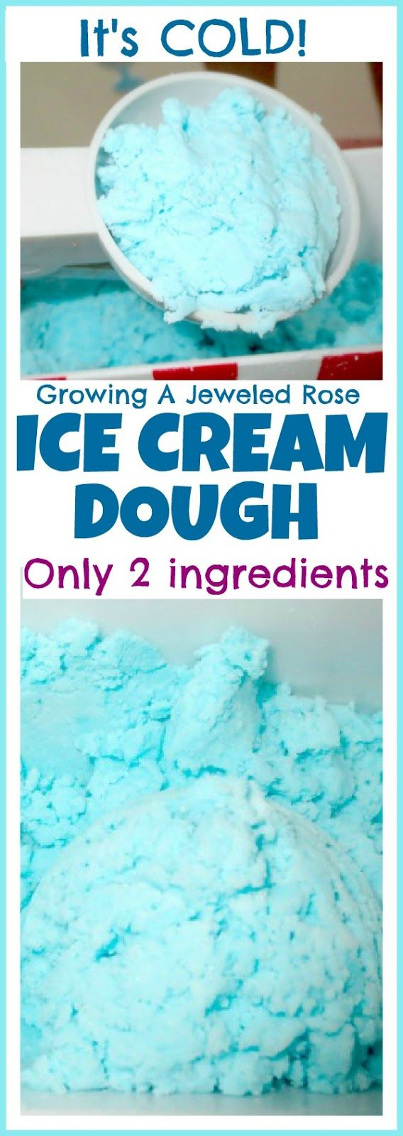 Amazing two ingredient ice cream dough for fabulously fun sensory play- it's cold and looks just like ice cream! (Such a fun way for kids to keep cool this Summer)
