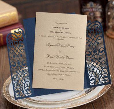 Gold Navy Laser Cut Lace Wedding Invitations Bridal Shower Invites Quinceanera Custom Printable Card Pocket Fold