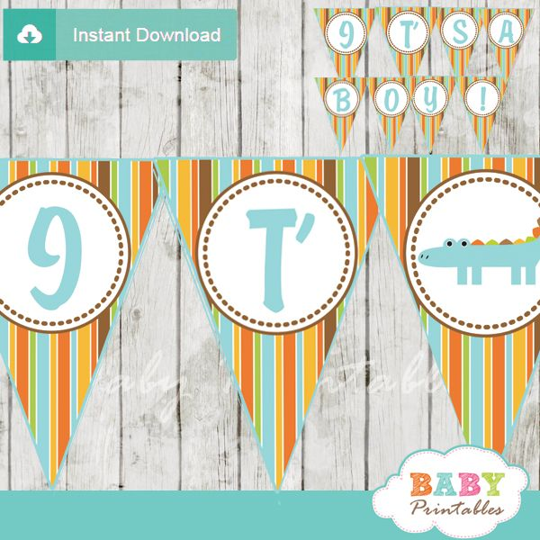 Baby Shower Custom Banners: 33 Best Alligator Baby Shower Theme Images On Pinterest