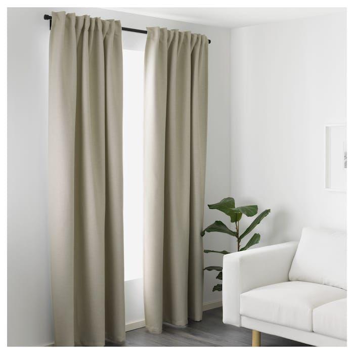 VILBORG beige, Curtains, 1 pair