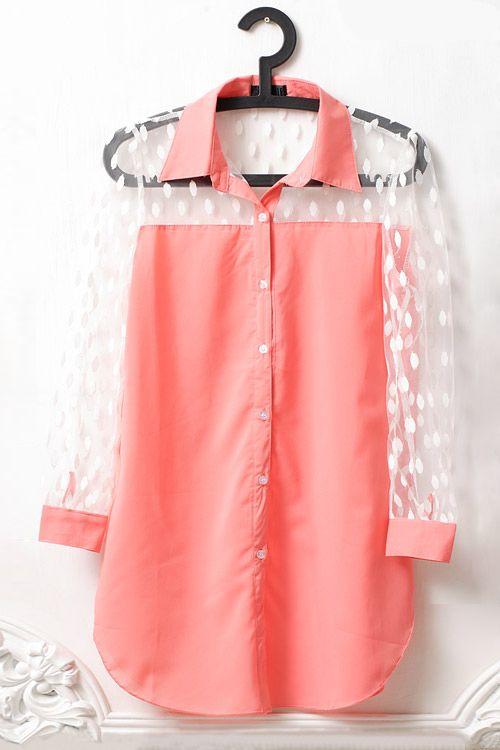 Vintage Polka Dot Gauze Long Sleeve Lapel Pink Shirt