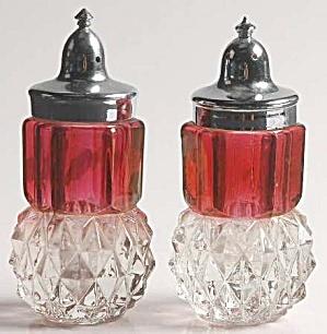 Vintage Indiana Glass Diamond Point Cranberry Salt and Pepper Set