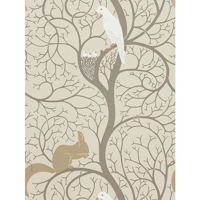 BuySanderson Squirrel & Dove Wallpaper, DVIWSQ101, Linen / Ivory Online at johnlewis.com