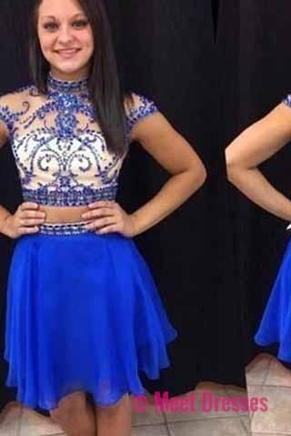 Royal Blue Short Prom Dresses,Chiffon Fitted Party Dress,Silver Beading Sparkly Cocktail Dress PM911