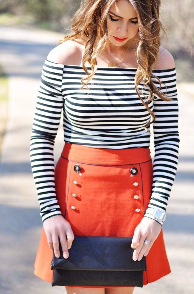 nautical stripes, nautical fashion, red and navy fashion, spring fashion inspo, black and red fashion, off the shoulder shirt, striped off the shoulder shirt, a-line skirt, red nautical skirt, nautical themed fashion, springtime fashion, spring outfit ideas, spring ootd red skirt, combi for spring, OOTD