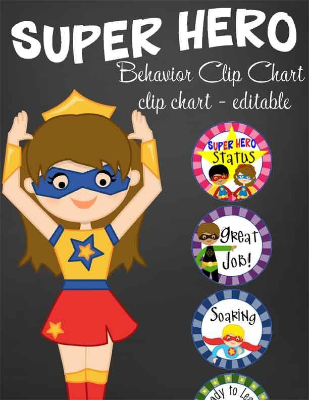 Classroom Decor Pencil Banner ~ Super hero theme classroom decor behavior clip chart