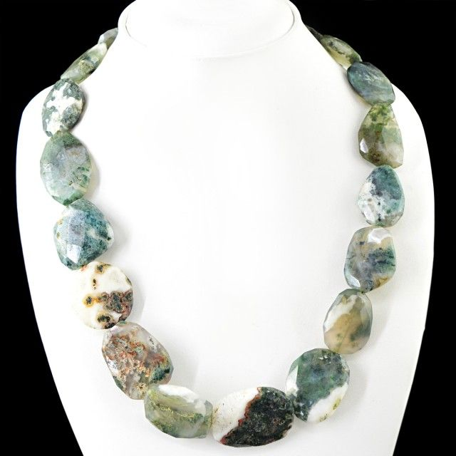 Genuine 685.00 Cts Untreated Moss Agate Beads NecklaceFASHIONABLE BEAD NECKLACE