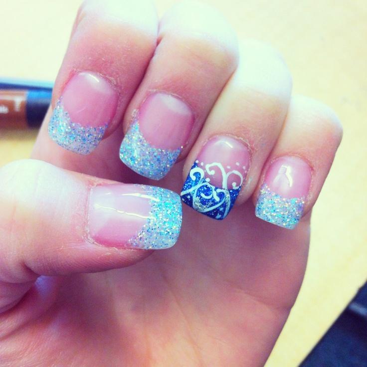 Cinderella Nails: Sparkle And Blue Gel Nails