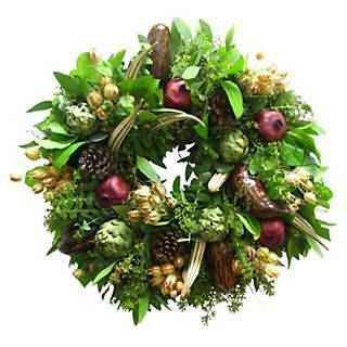 """18"""" Feather & Pod Wreath, Preserved 