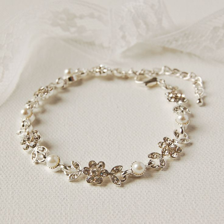 Pearl And Diamante Flower Bracelet �12.00 - Bracelets and Bangles - Contemporary Bracelets Buy, Engraved Silver Jewellery, Personalised Mens, Womens Gifts, Online, UK