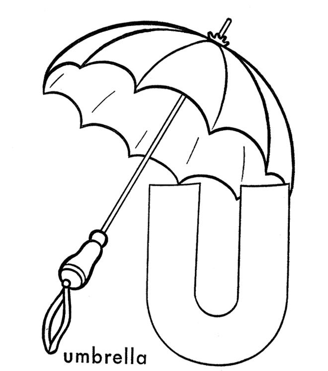 umbrella alphabet coloring pages
