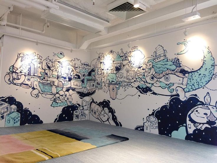 """Want a ride?"" The #LionRock space ship 🚀 Painted for @uber_hk office #UberHK . . . #baoho #painting #murals #art #illustration #brush #color #HongKong @eicopaint"