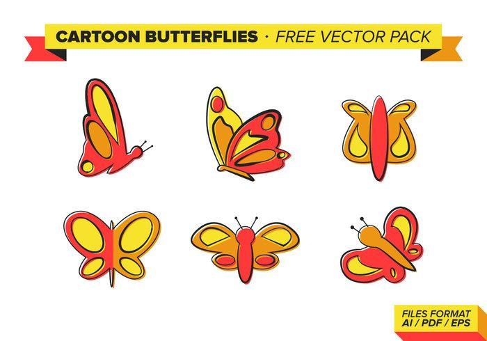 Free vector Cartoon Butterflies Free Vector Pack #26916