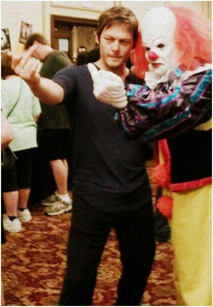 OMG! Norman Reedus and Pennywise the Dancing clown from IT....My head just exploded from the joy of fandoms colliding!