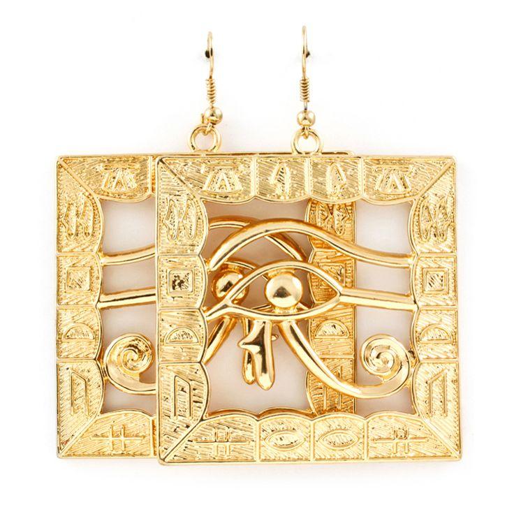 Joji Boutique - golden eye of Horus egyptian drop earrings, (http://www.jojiboutique.com/products/golden-eye-of-horus-egyptian-drop-earrings.html)
