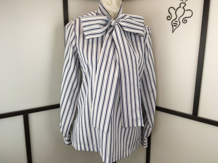 Blue and White Stripe Blouse, Vintage Bow Top, Pussy Bow, Lady Arrow,  Nautical Shirt, Button Up, Long Sleeve, Size Large by InBeetweenVintageCo on Etsy