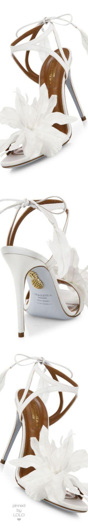 Aquazzura Flora Satin Back-Tie #Sandals