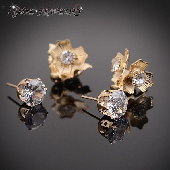 Новый бренд 2015 круглый горный хрусталь цветок серьги мода пара ювелирных изделий золото серебро двусторонняя серьги стержня для женщин.