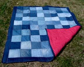 i like how he did the red stitching. Another option for the jean stack. Picnic blanket.