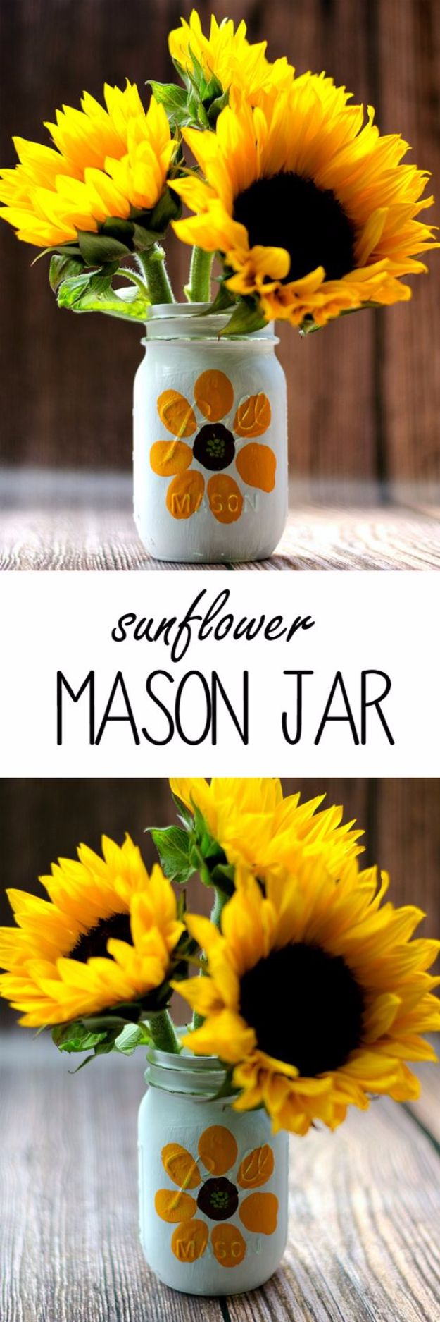 Best Mason Jar Crafts for Fall - Thumbprint Sunflower Mason Jar - DIY Mason Jar Ideas for Centerpieces, Wedding Decorations, Homemade Gifts, Craft Projects with Leaves, Flowers and Burlap, Painted Art, Candles and Luminaries for Cool Home Decor http://diyjoy.com/mason-jar-crafts-fall