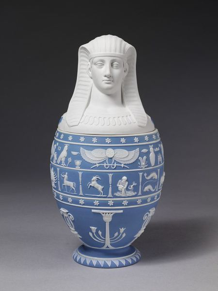 Jaspweware Vase And Cover In The Form Of An Egyptian