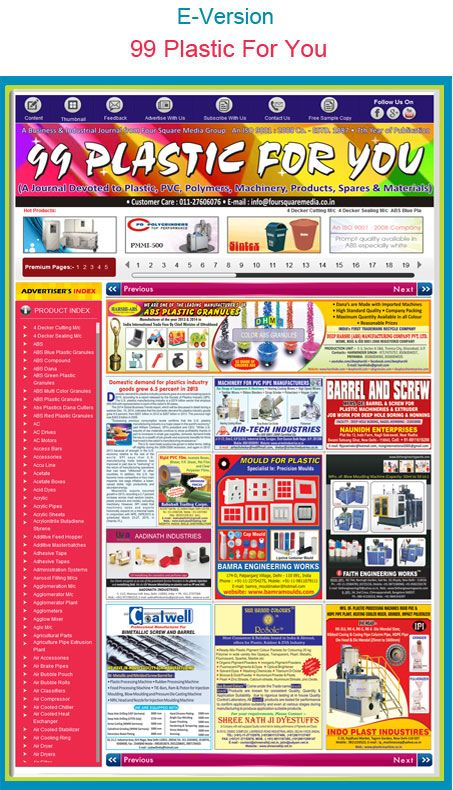 99plasticforyou is an journal Devoted to plastic, PVC, polymers, spare parts, components and materials products manufacturers, suppliers, dealers, exporters, importers in India. more info visit : http://99plasticforyou.com