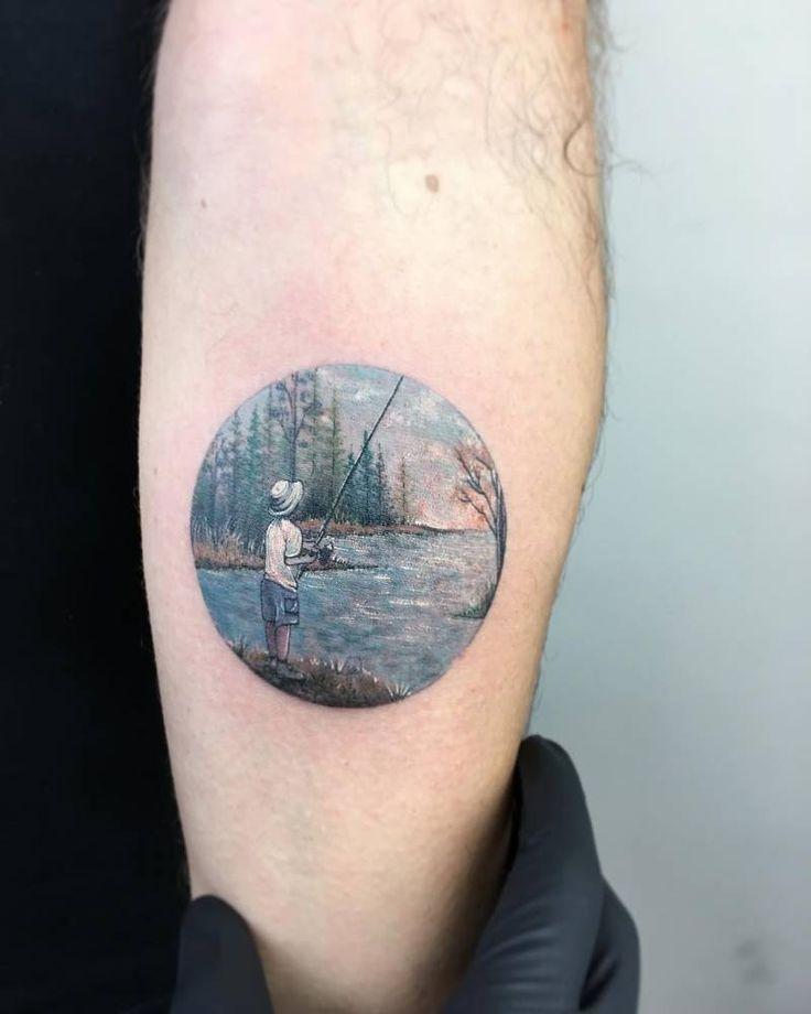 Young fisherman tattoo on the left inner forearm. Tattoo artist: Eva krbdk