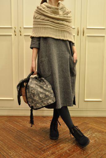 Knit cape, suede lace up boots