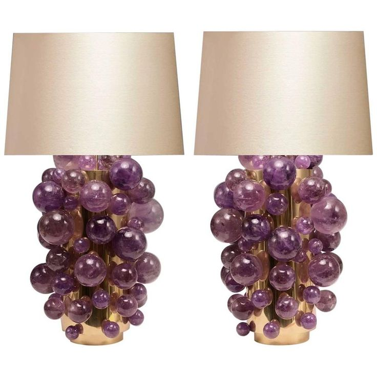 Pair of Amethyst Rock Crystal Bubble Lamps | 1stdibs.com