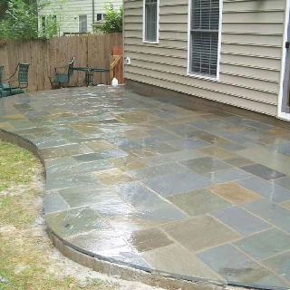 Slate tile patio outdoor projects pinterest the shape backyards and slate tiles - Outdoor tile ideas ...