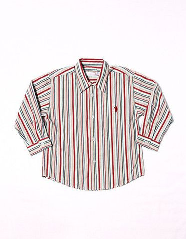Blue,red,brown multi color striped shirt