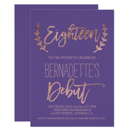 Rose Gold Typography Debut Purple 18th Birthday Invitation In 2019